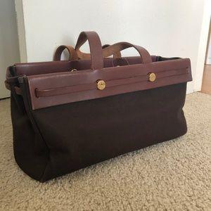 Auth HERMES Her Bag Cabas MM DarkBrown Brown